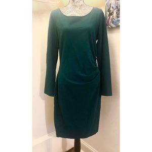 KENNETH COLE Hunter Green Long Sleeve Fitted Dress